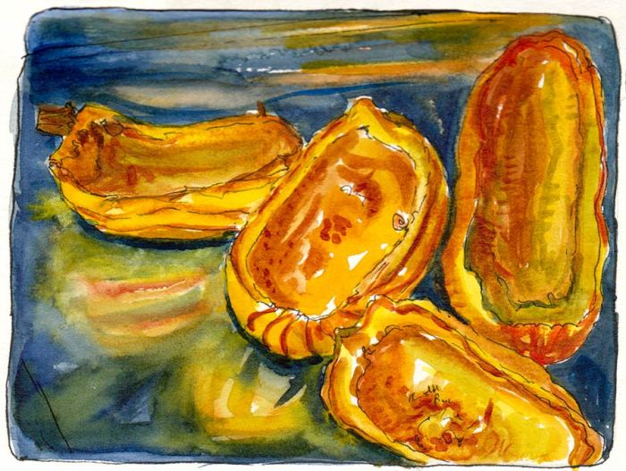 """Delicata Cooked on Metal Pan, ink & watercolor, 7x5"""""""