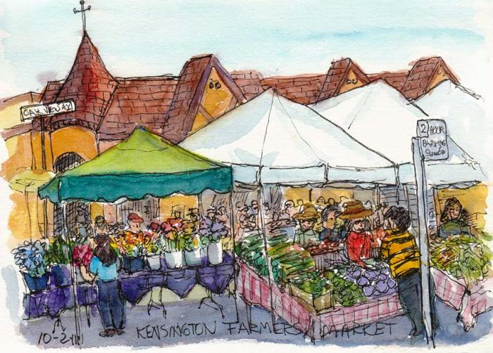 Kensington Farmers's Market, Ink & watercolor, 7x5""