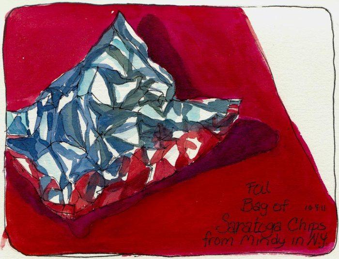 "Foil bag of potato chips, ink & watercolor, 5x7"""