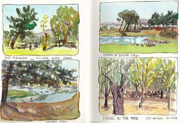 Miller-Knox Park Sketches, Journal Spread, 11x7""