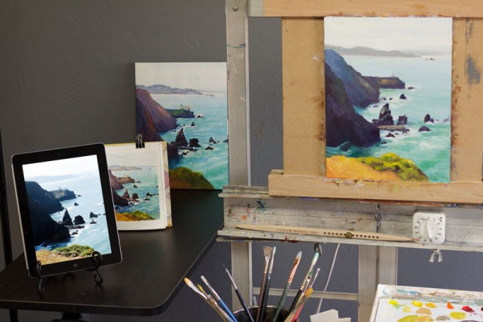 Point Bonita Painting set up in studio