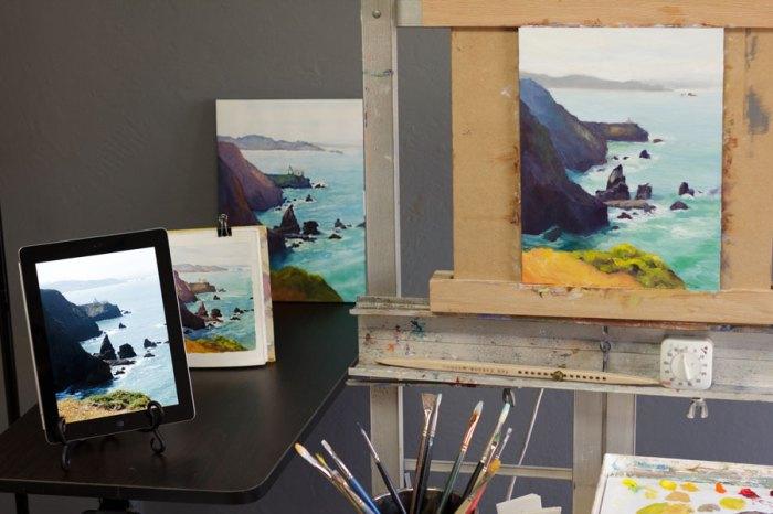 Point Bonita Painting set up in studio