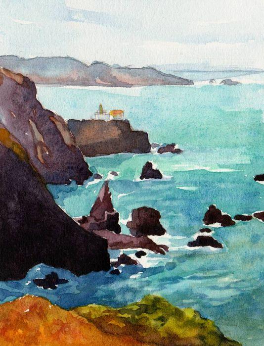 "Point Bonita, watercolor, 7x5"" in journal"
