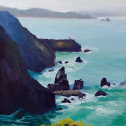 Point Bonita #3, Oil on Gessobord Panel, 12x9""