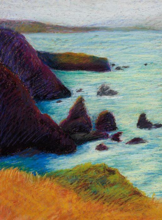 "Point Bonita #4, Oil pastel on Stonehenge paper, 17x13"""