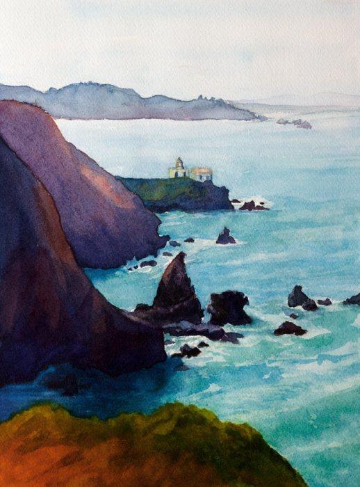 "Point Bonita, Watercolor, 12x9"""