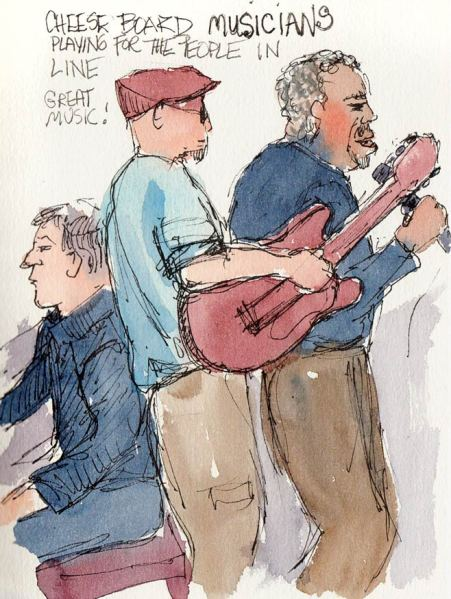 Cheeseboard Musicians, ink & watercolor, 7x5""