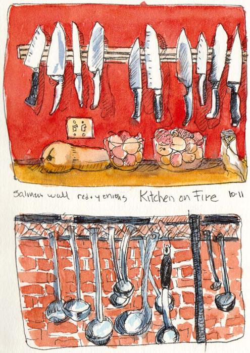 Kitchen on Fire Tools, ink & watercolor, 7x5""