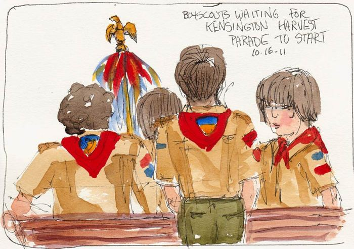 Boy Scouts Waiting to Parade, ink & watercolor 5x7""