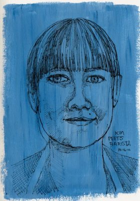 Kim the Barista, ink & acrylic & watercolor