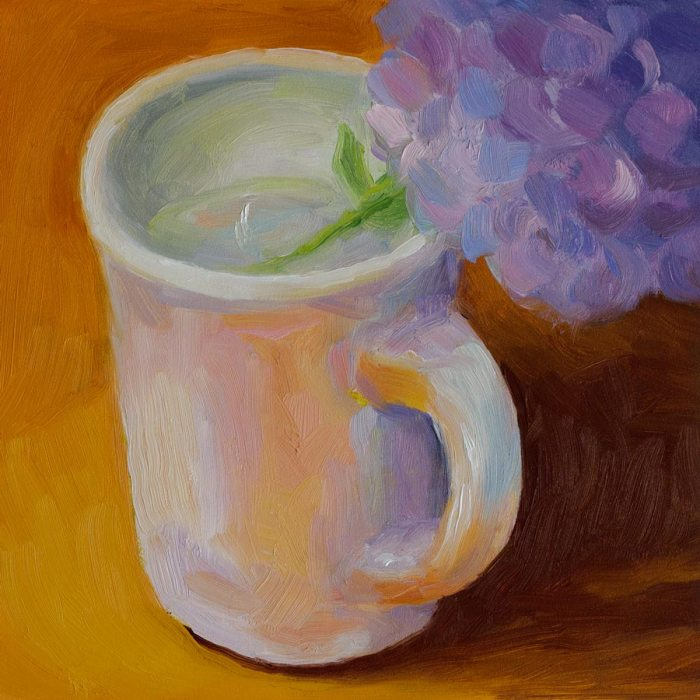 Cup of Hydrangea, oil on panel, 6x6""