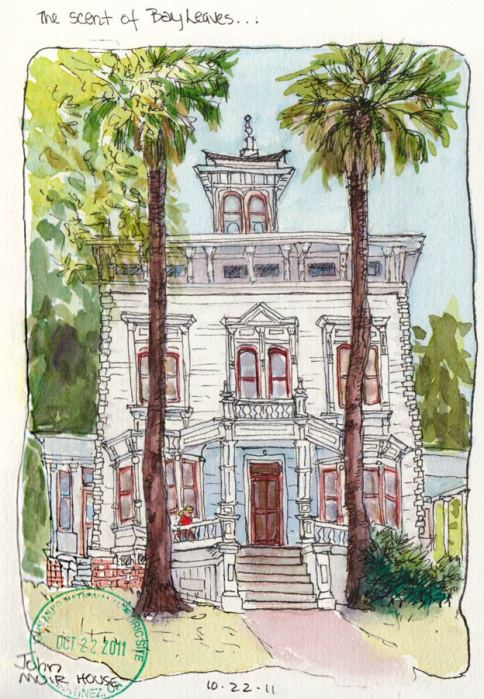 "John Muir House, ink & watercolor, 7x5"""
