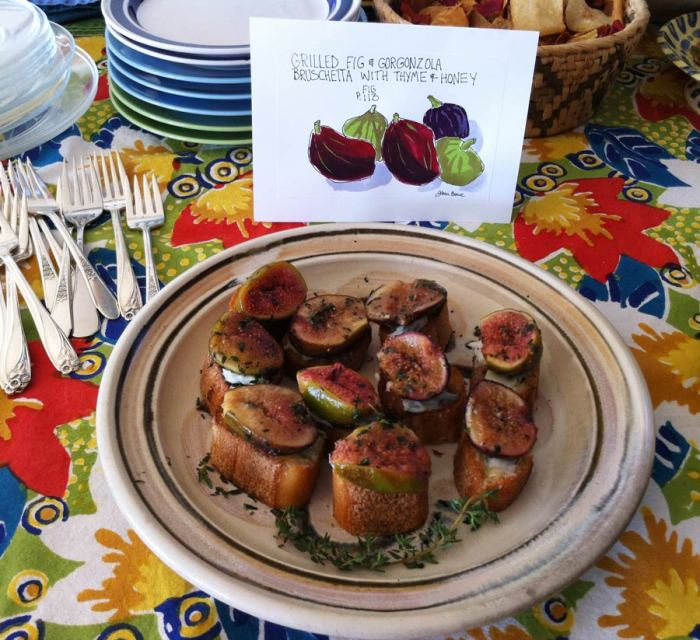 Fig Bruschetta on the table