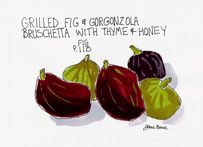 Grilled Fig Bruschetta table card, ink & gouache, 5x7""