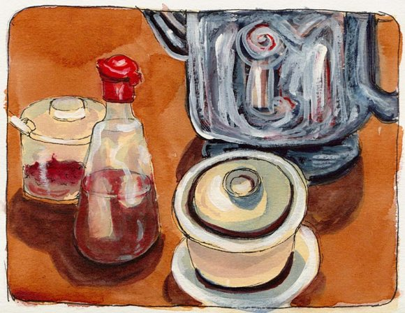 Cup of tea with lid, ink, watercolor & gouache, 7x5""