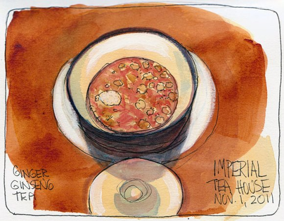 Tea with floaty stuff in it, ink & watercolor, 7x5""