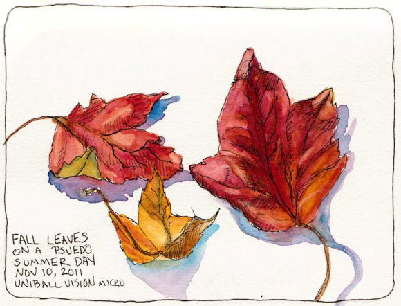 Autumn leaves, ink & watercolor, 7x5""