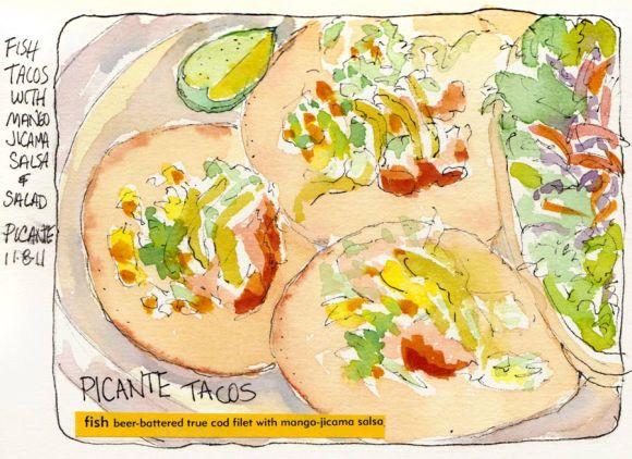 "Fish Tacos and salad, ink & watercolor, 5x7"""
