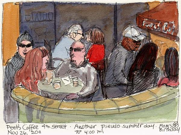Peet's 4th Street Patio, ink & watercolor