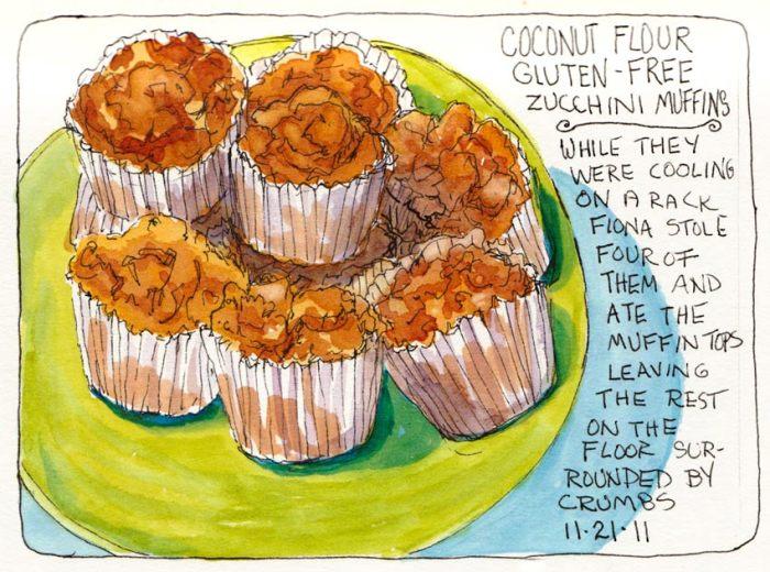 "Coconut Flour Zucchini Muffins, ink & watercolor 5x7"""