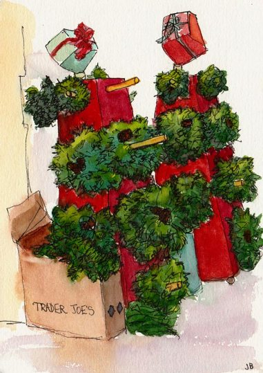 Wreaths for Sale, ink & watercolor, 7x5