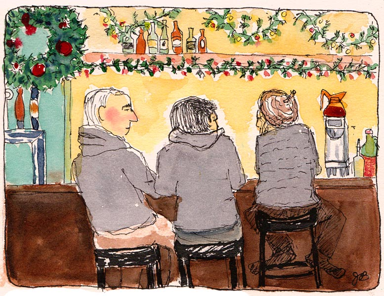 Brennan's Bar Decked Out for Xmas, ink & watercolor
