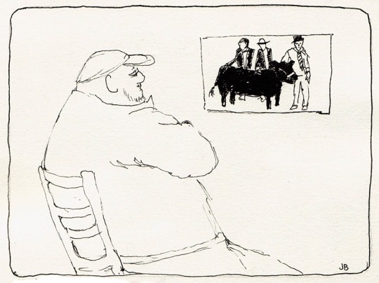 Big Guy and Photo of Prize Steers, ink, 5x7""