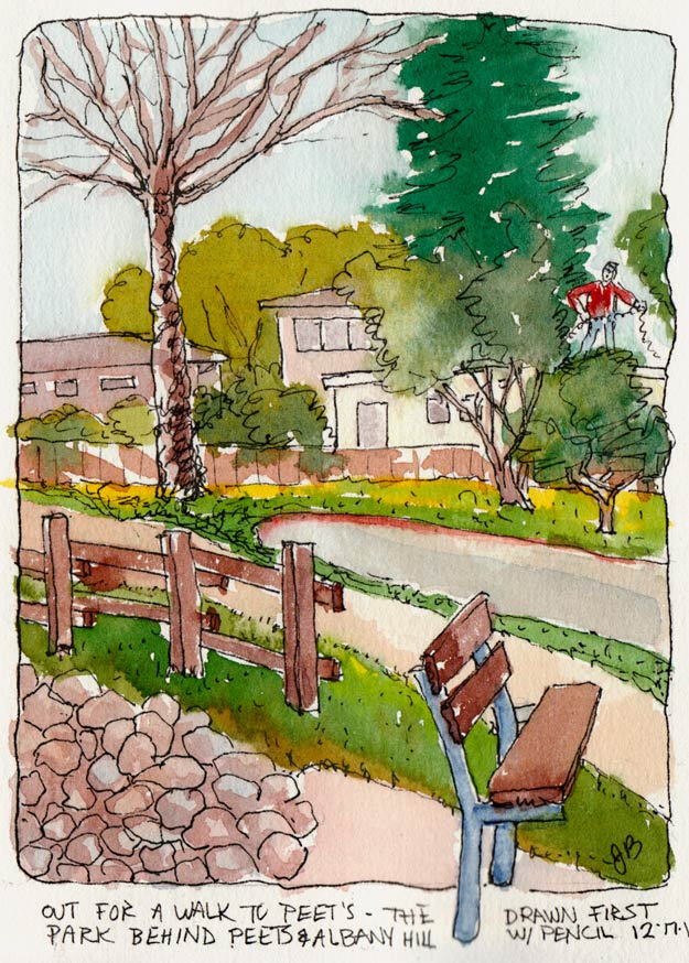 Putting Up the Xmas Lights by the Park, Ink & watercolor, 7x5""