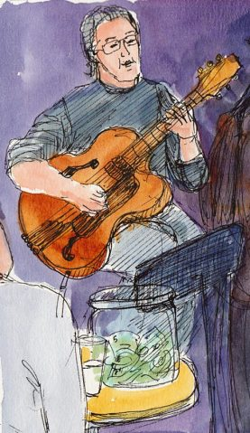 Randy Craig Trio guitarist, ink & watercolor