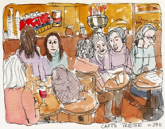 Caffe Trieste before the band, ink & watercolor, 7x5""