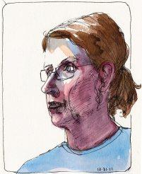Self portrait with ponytail