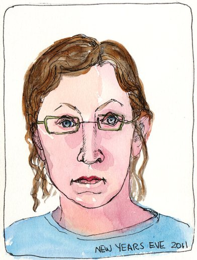 End of Journal Self-Portrait #1, ink & watercolor, 7x5""