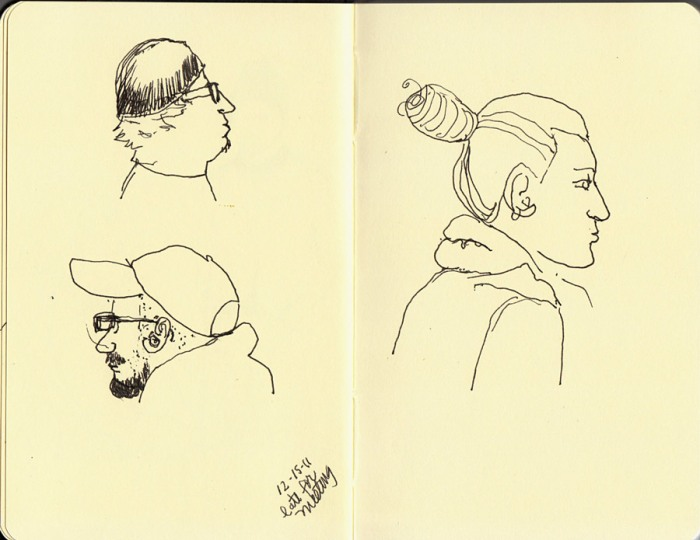 Subway heads 1, ink in Small Moleskine sketchbook