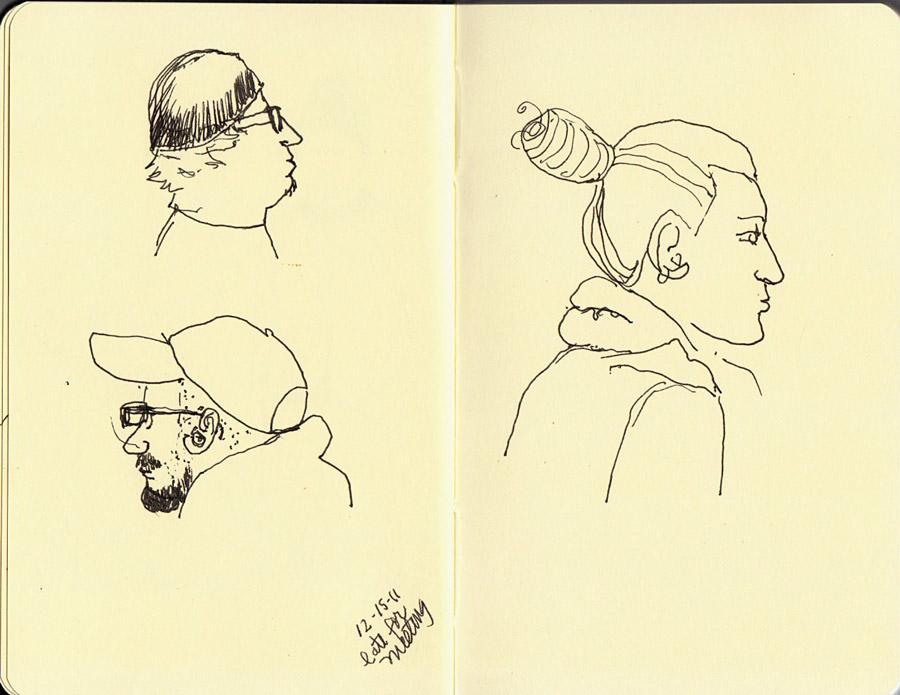 Subway heads 1, ink in Small Moleskine sketchbook