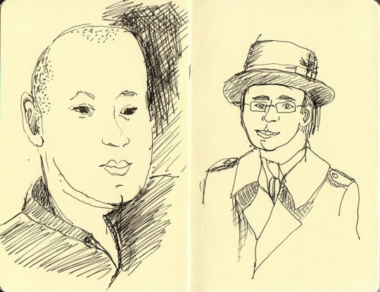 Subway heads 2, ink in small Moleskine sketchbook