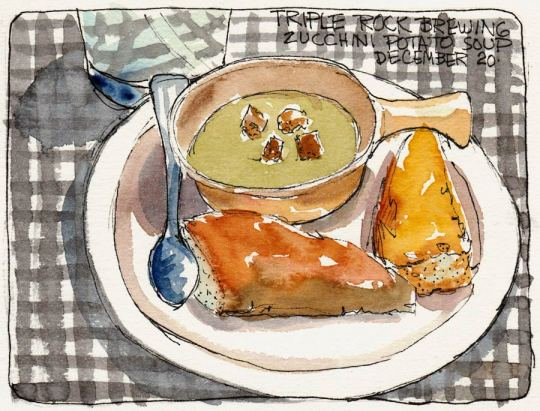 Soup at Triple Rock Brewery, ink & watercolor, 5x7""