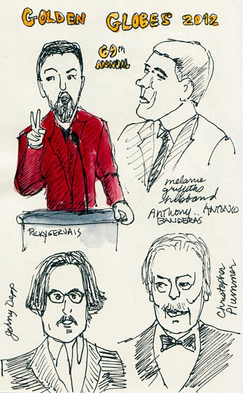 """Golden Globes: Gervais, Depp, Banderas, Plummer, ink & watercolor 8x6"""""""