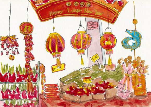 Happy Lunar New Year ink & watercolor sketch