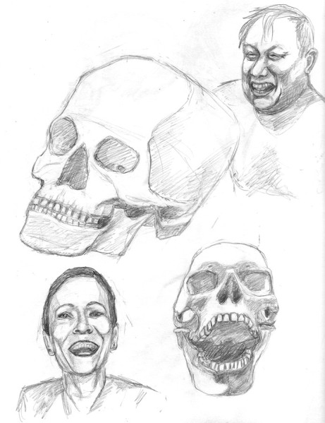 Skulls and Faces, HB pencil, 11x9""