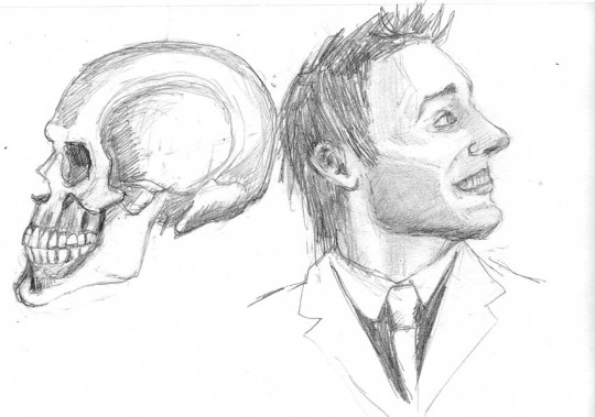 """Smiley Skull and Smiley Guy study, HB pencil, 4x6"""""""