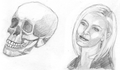 3/4 View Skull and Pretty Girl, HB pencil, 4x6""
