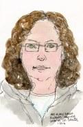 "Self portrait with grey sweatshirt, ink & watercolor, 7x5"""