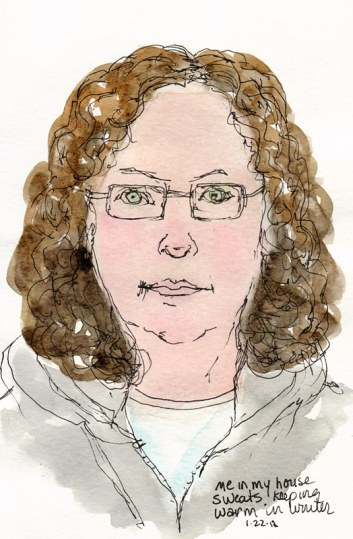 Self portrait with grey sweatshirt, ink & watercolor, 7x5""