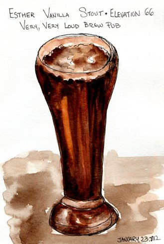 Esther Vanilla Stout Ale, Delicious! ink & watercolor, 7x5""