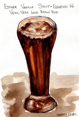 "Esther Vanilla Stout Ale, Delicious! ink & watercolor, 7x5"""