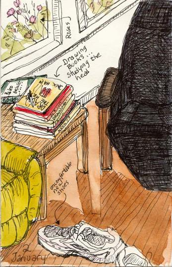 Livingroom with books and shoes, ink & watercolor, 6x4""