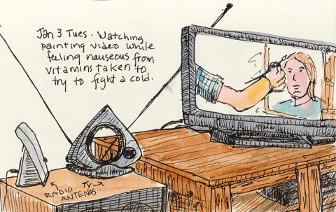 TV and antenna, ink & watercolor, 4x6""