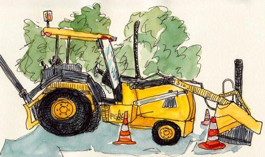 "Under Construction, ink & watercolor 5x7"""
