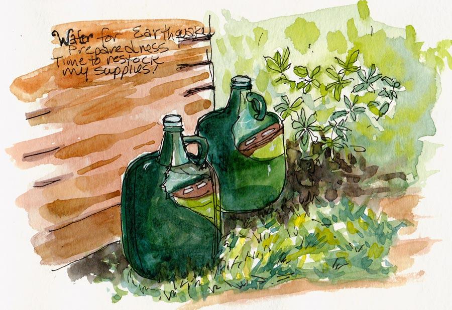 "Earthquake water jugs, ink & watercolor, 5x7"""