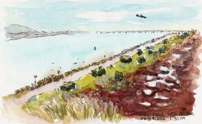 """Oakland Airport View, ink & watercolor 5x7"""""""